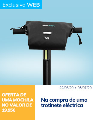 Na compra de uma trotinete eléctrica oferta de uma mochila no valor de 19.95€