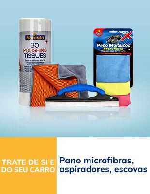 Pano microfibras, aspiradores e escovas