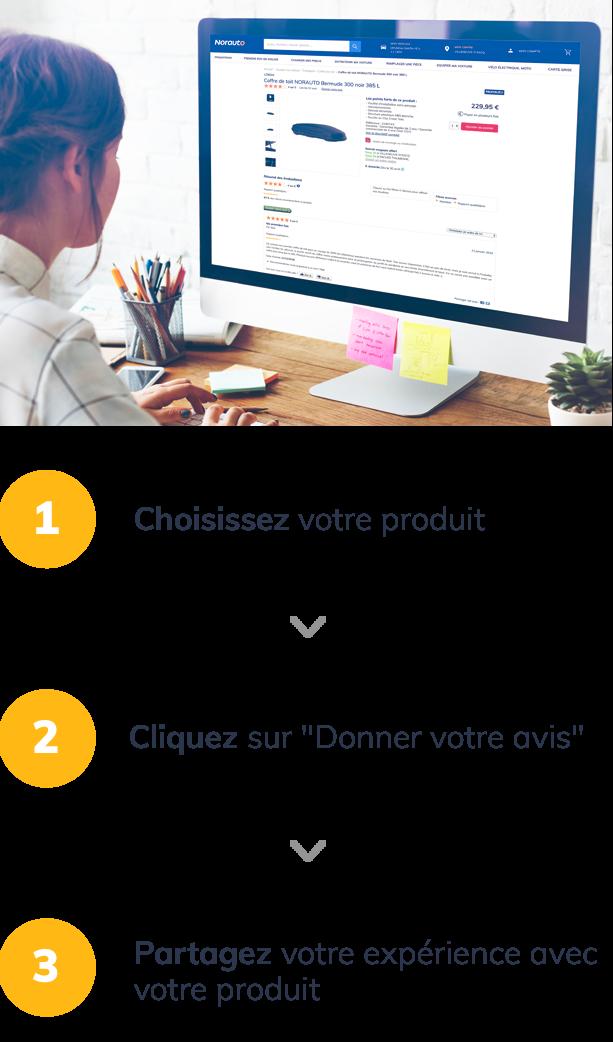Choisissez votre produit / Cliquez sur 'votre avis' / Partagez votre expérience avec le produit