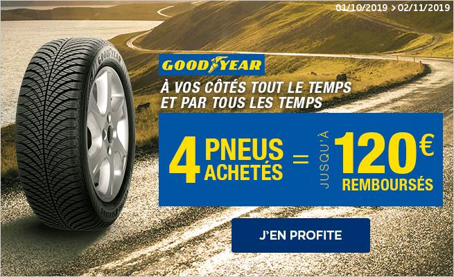 pneus GOODYEAR : jusqu à 120€ remboursés*