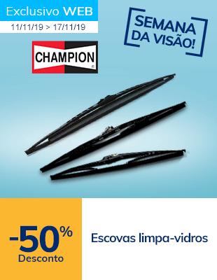 50% desconto em escovas limpa-vidros Champion