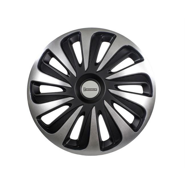 4 Enjoliveurs Gris/noir Michelin 3d Black Edition 16 Pouces