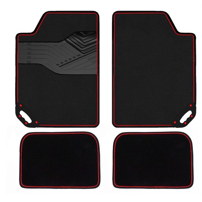 4 tapis voiture universels moquette hvd easy shake noirs et rouges. Black Bedroom Furniture Sets. Home Design Ideas