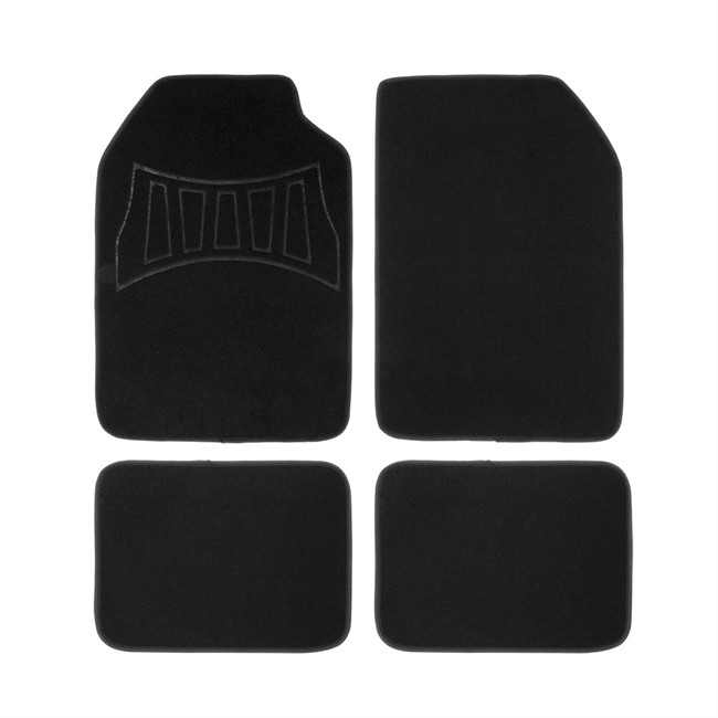 4 tapis de voiture universels moquette 1er prix confiance 2016h noirs et gris. Black Bedroom Furniture Sets. Home Design Ideas
