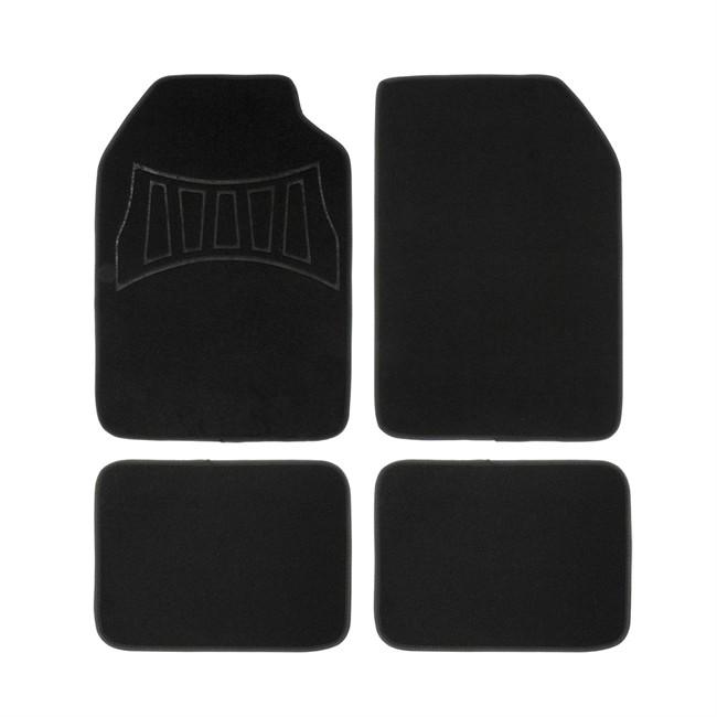 4 tapis de voiture universels moquette 1er prix confiance noir et gris. Black Bedroom Furniture Sets. Home Design Ideas