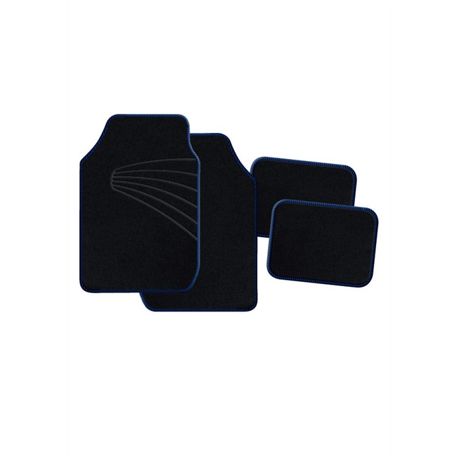 4 tapis de voiture universels moquette 1er prix twister noir ganse bleue. Black Bedroom Furniture Sets. Home Design Ideas