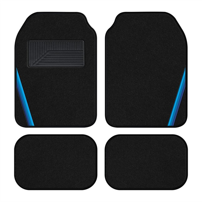 4 tapis de voiture universels moquette 1er prix summer noir bande bleu. Black Bedroom Furniture Sets. Home Design Ideas