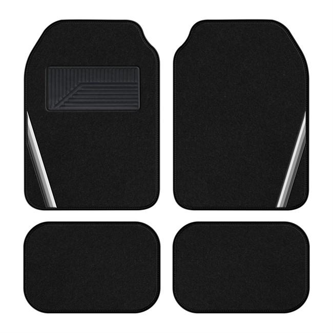 4 tapis de voiture universels moquette 1er prix summer noir bande griss. Black Bedroom Furniture Sets. Home Design Ideas