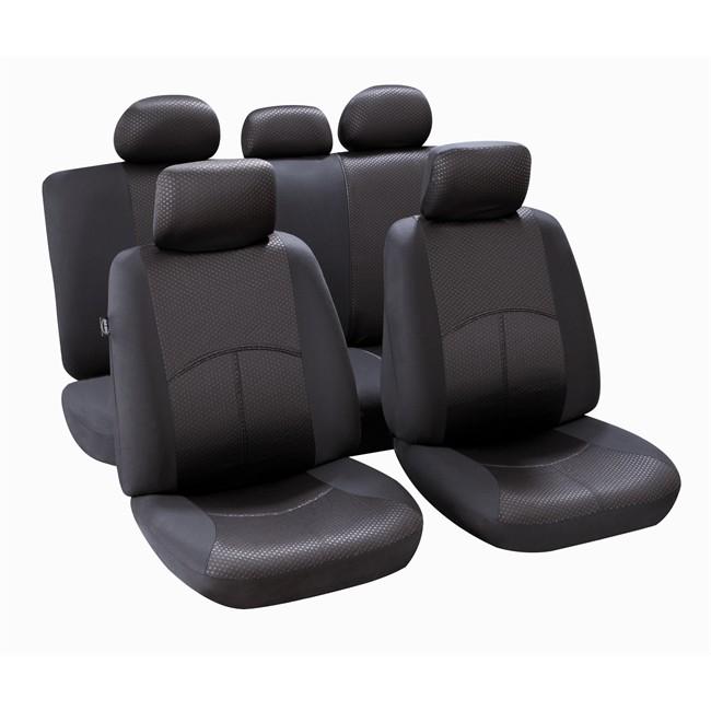 jeu complet de housses universelles voiture norauto ningbo noires citadine. Black Bedroom Furniture Sets. Home Design Ideas