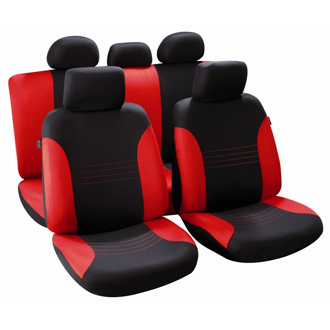 jeu complet de housses universelles voiture norauto arabesk noires rouge citadine. Black Bedroom Furniture Sets. Home Design Ideas