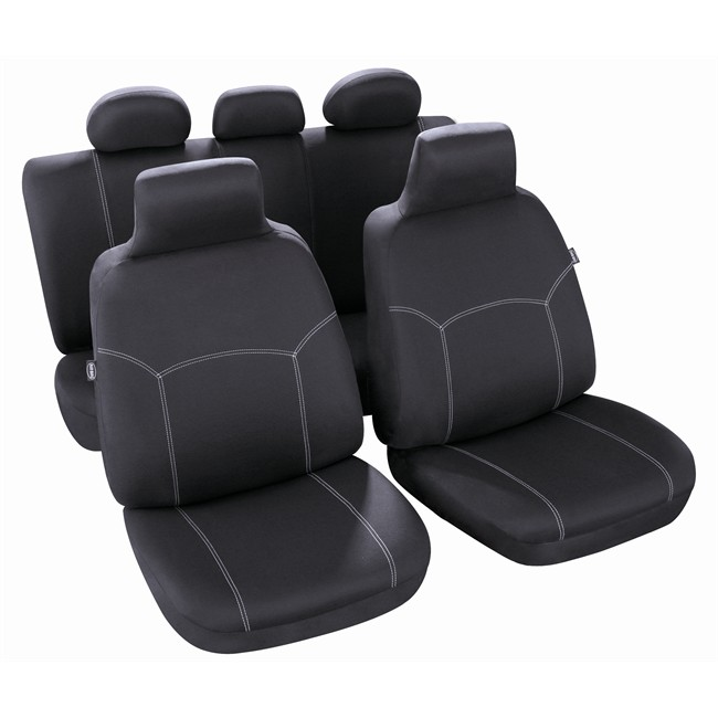 jeu complet de housses universelles voiture sp cial citadine norauto phuket noires. Black Bedroom Furniture Sets. Home Design Ideas
