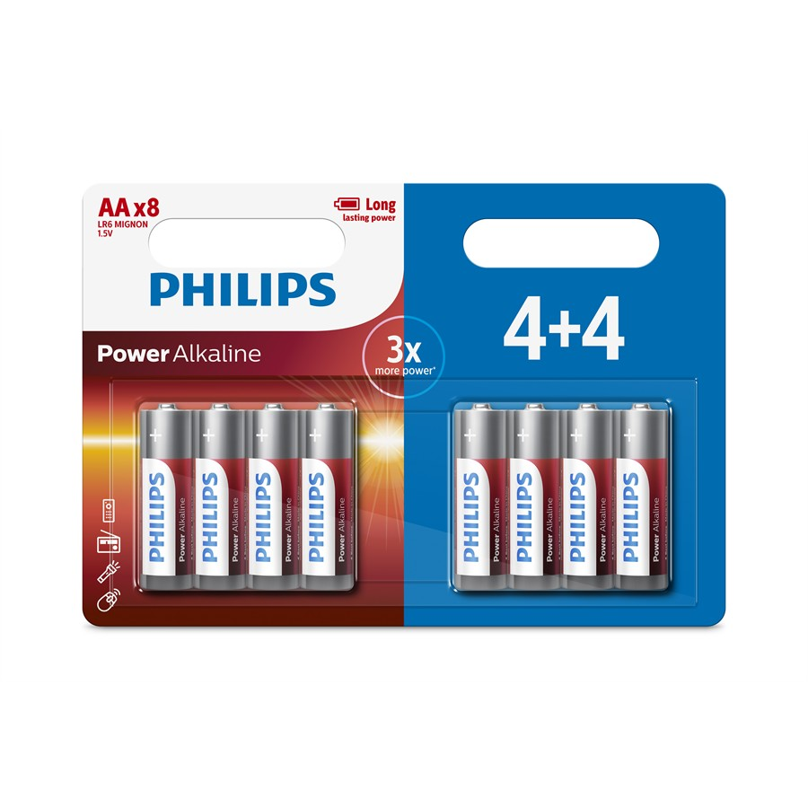 8 piles 1,5V AA/LR06 PHILIPS Power Alkaline