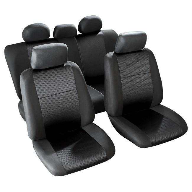 jeu complet de housses universelles voiture sodifac palma noires. Black Bedroom Furniture Sets. Home Design Ideas