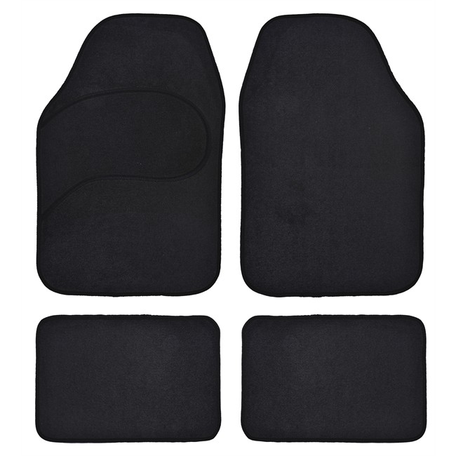 4 tapis voiture universels moquette noirs. Black Bedroom Furniture Sets. Home Design Ideas