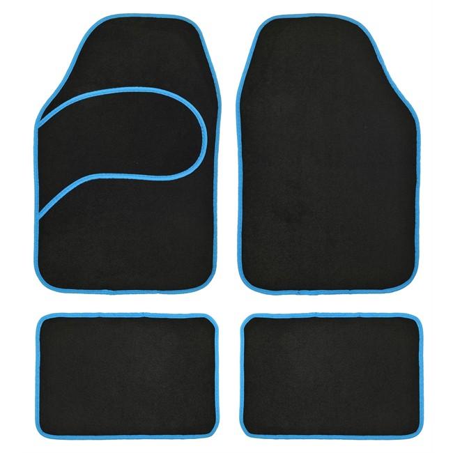 4 tapis voiture universels moquette noir ganse bleue for Moquette interieur voiture