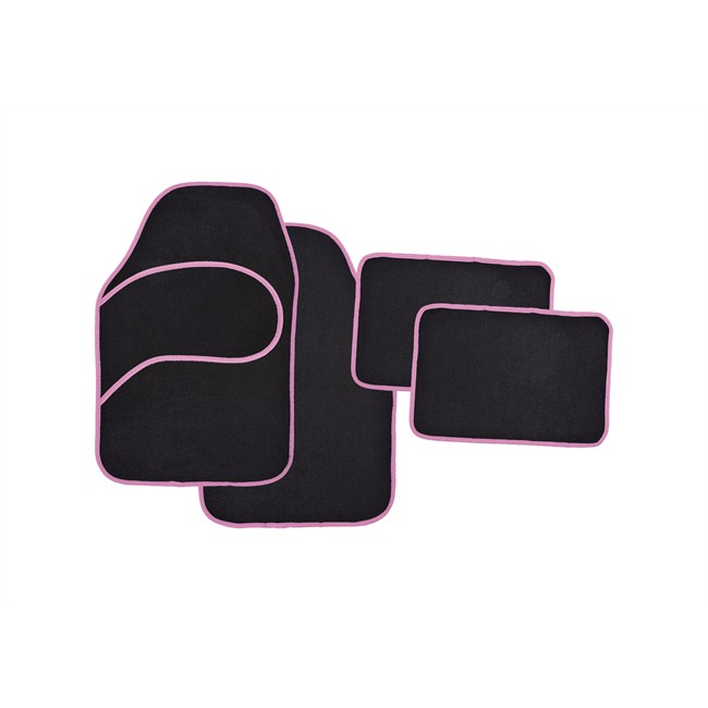 4 tapis voiture universels moquette noir ganse rose. Black Bedroom Furniture Sets. Home Design Ideas