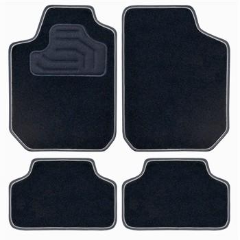 4 tapis de voiture universels moquette twin noir double ganse grise. Black Bedroom Furniture Sets. Home Design Ideas
