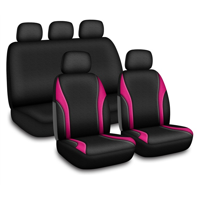 Jeu complet de housses universelles voiture linea noires for Housse voiture rose