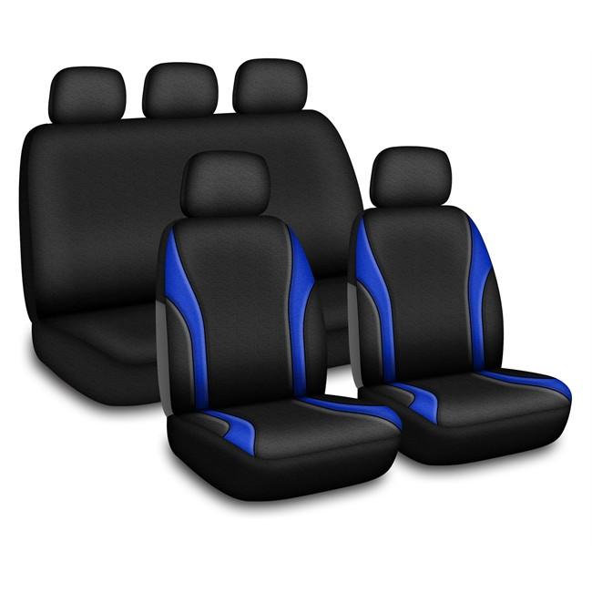 jeu complet de housses universelles voiture linea noires et bleues. Black Bedroom Furniture Sets. Home Design Ideas