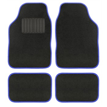 4 tapis de voiture universels moquette aquarella noir ganse bleue. Black Bedroom Furniture Sets. Home Design Ideas