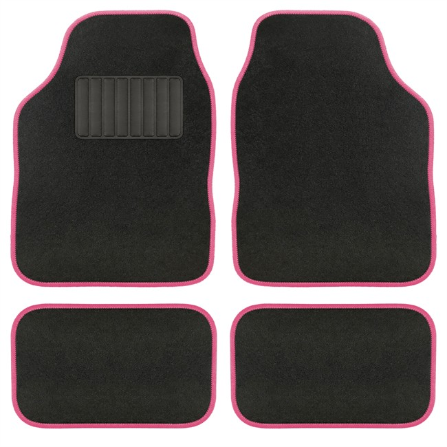 4 tapis de voiture universels moquette aquarella noir ganse rose. Black Bedroom Furniture Sets. Home Design Ideas