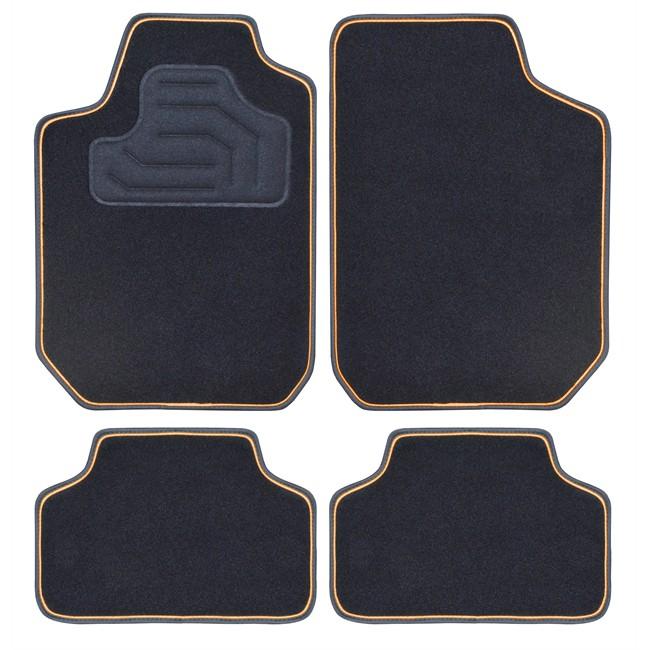 4 tapis de voiture universels moquette twin noir double ganse orange. Black Bedroom Furniture Sets. Home Design Ideas