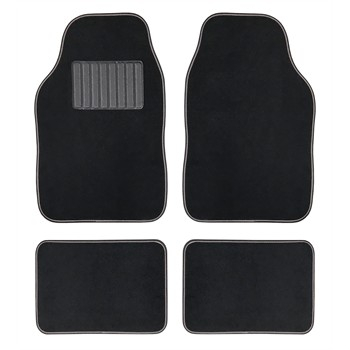 4 tapis de voiture universels moquette hana noir ganse grise. Black Bedroom Furniture Sets. Home Design Ideas