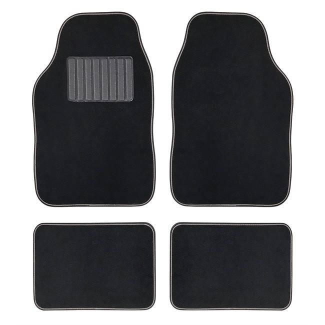 4 tapis de voiture universels moquette hana noir ganse for Moquette interieur voiture
