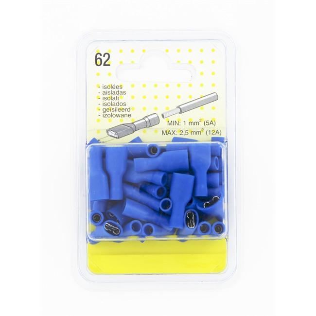 40 Cosses Plates Isolées Bleues 6.3 Femelle