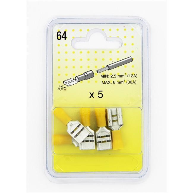 5 cosses plates jaunes 9 5 mm femelle. Black Bedroom Furniture Sets. Home Design Ideas