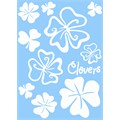10 stickers autocollants transférables CADOX Fleurs Clovers blancs