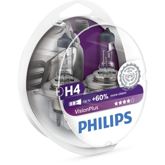 2 ampoules philips h4 visionplus 55w 12v. Black Bedroom Furniture Sets. Home Design Ideas
