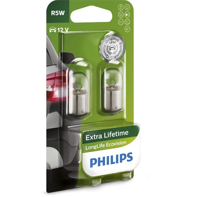 2 Ampoules Philips Longlife Ecovision R5w 12 V
