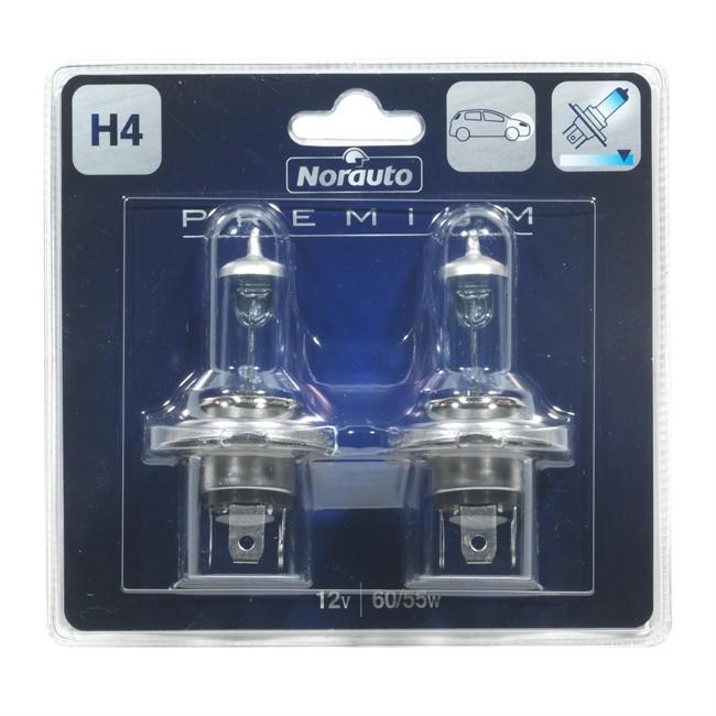 2 ampoules norauto premium h4 lumi re bleut e 60 55 w 12 v. Black Bedroom Furniture Sets. Home Design Ideas