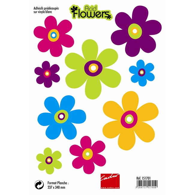 9 Stickers Autocollants Acid Flowers Norauto Fr