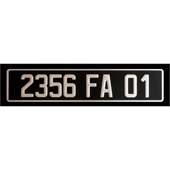 plaque d 39 immatriculation alu standard noire pour v hicule. Black Bedroom Furniture Sets. Home Design Ideas