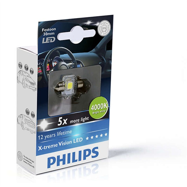 1 Ampoule PHILIPS Navette C5W 30mm X TremeVision LED 4000K