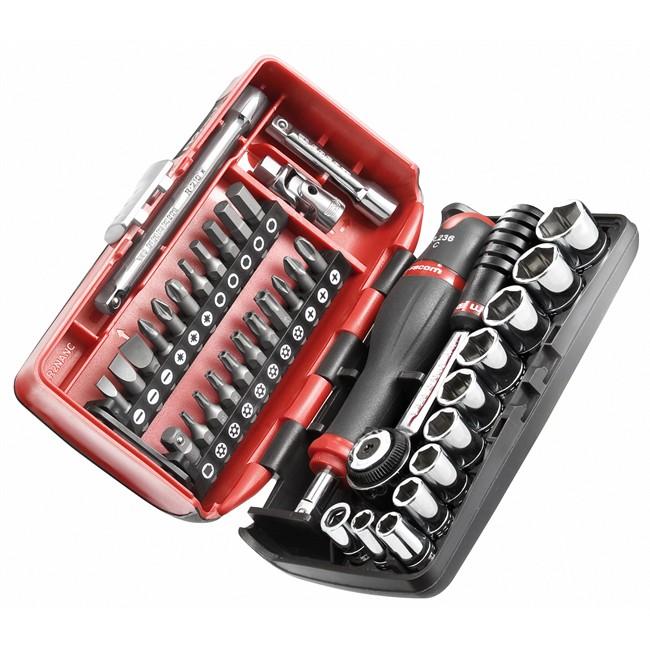 Ultra Coffret clé à cliquet carré 1/4'' + douilles 6 pans 5,5-14 mm et UQ-45