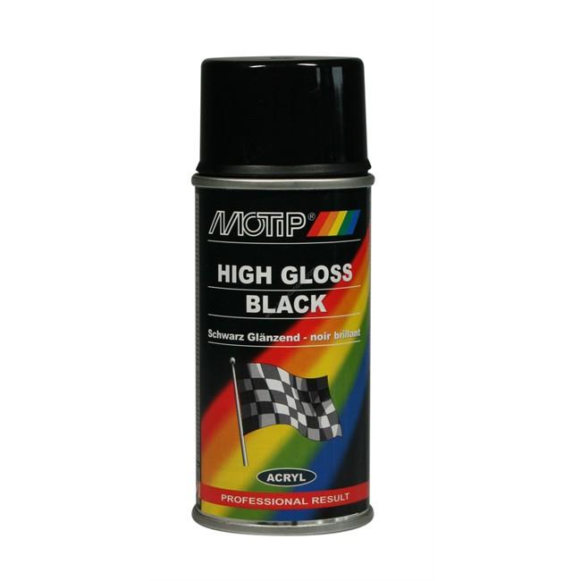 bombe de peinture noir brillant motip m00105 150 ml