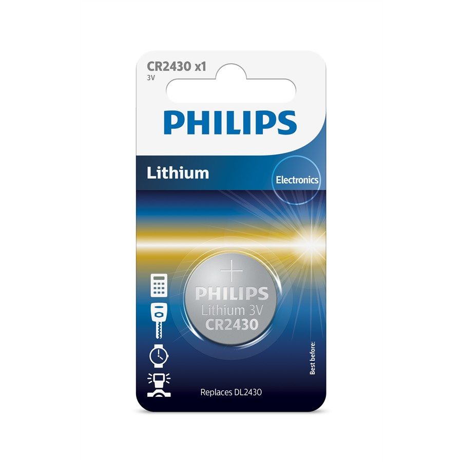 1 pile bouton 3V CR2430 PHILIPS Lithium