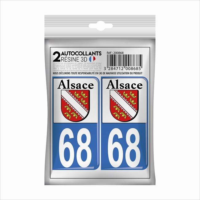 Auto, Moto – Pièces, Accessoires Badges, Insignes, Mascottes 68 Haut-rhin Alsace Departement Immatriculation 2 X Autocollants Sticker Auto