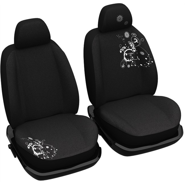 jeu de housses universelles voiture si ges avant norauto arabesk noires. Black Bedroom Furniture Sets. Home Design Ideas