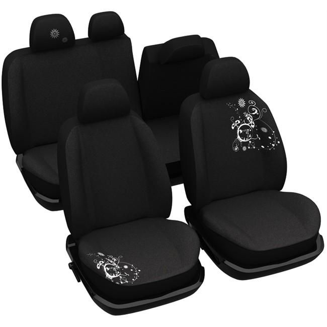 jeu complet de housses universelles voiture sp cial berline norauto arabesk noires. Black Bedroom Furniture Sets. Home Design Ideas