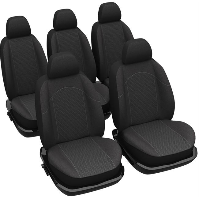 jeu complet de housses universelles voiture sp cial monospace norauto sofia noires. Black Bedroom Furniture Sets. Home Design Ideas