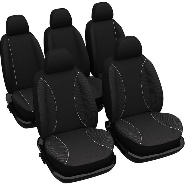 jeu complet de housses universelles voiture sp cial monospace norauto roma noires. Black Bedroom Furniture Sets. Home Design Ideas