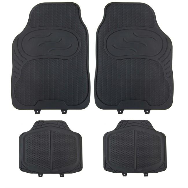 4 tapis de voiture universels en pvc 1er prix confiance noir. Black Bedroom Furniture Sets. Home Design Ideas