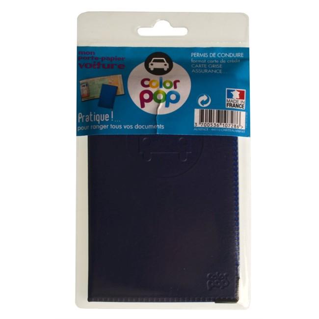 1 Porte Papiers Voiture Colorpop Bleu Pvc
