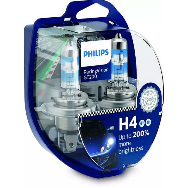 2 Ampoules Philips H4 Racing Vision Gt200 12v 60/55w