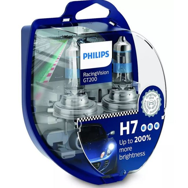 2 Ampoules Philips H7 Racing Vision Gt200 2v 55w
