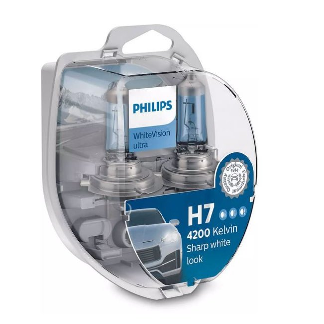 2 Ampoules Philips H7 Whitevision Ultra 12v 55w + 2 Ampoules W5w